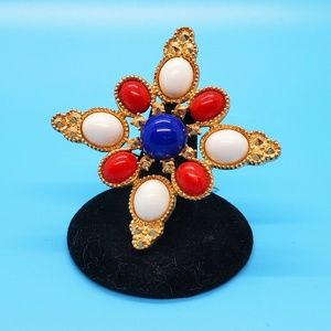 🆕️Vintage•Sarah Coventry red,wh. & blue brooch💎